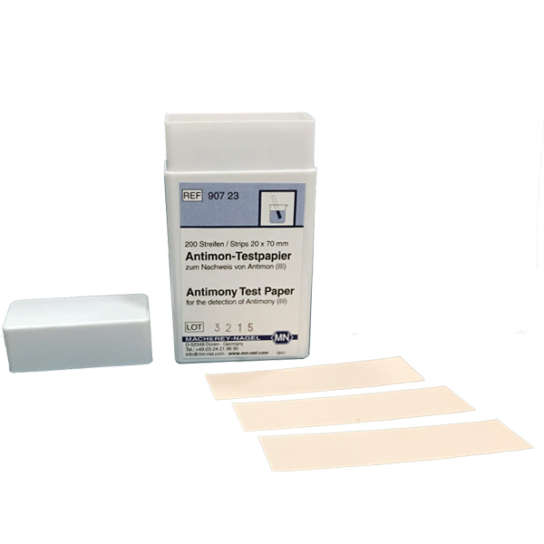 Antimony test paper *TEST PROCEDURE IS INTRICATE, PRODUCT NOT RECOMMENDED FOR USE BY NON CHEMIST* REQUEST TEST PROCEDURE PRIOR TO ORDERING. *Additional reagents are required to perform this test, they are not included with this item* #90723