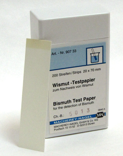 Bismuth test paper *TEST PROCEDURE IS INTRICATE, PRODUCT NOT RECOMMENDED FOR USE BY NON CHEMIST* REQUEST TEST PROCEDURE PRIOR TO ORDERING. *Additional reagents are required to perform this test, they are not included with this item* #90733